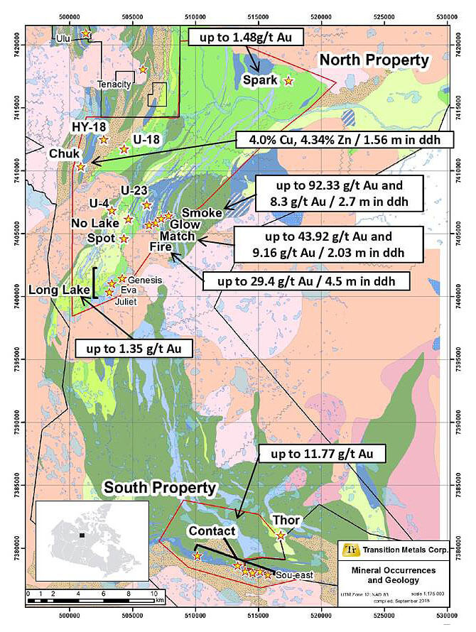 Figure 1 Geology and Showings of the CO 20 Property