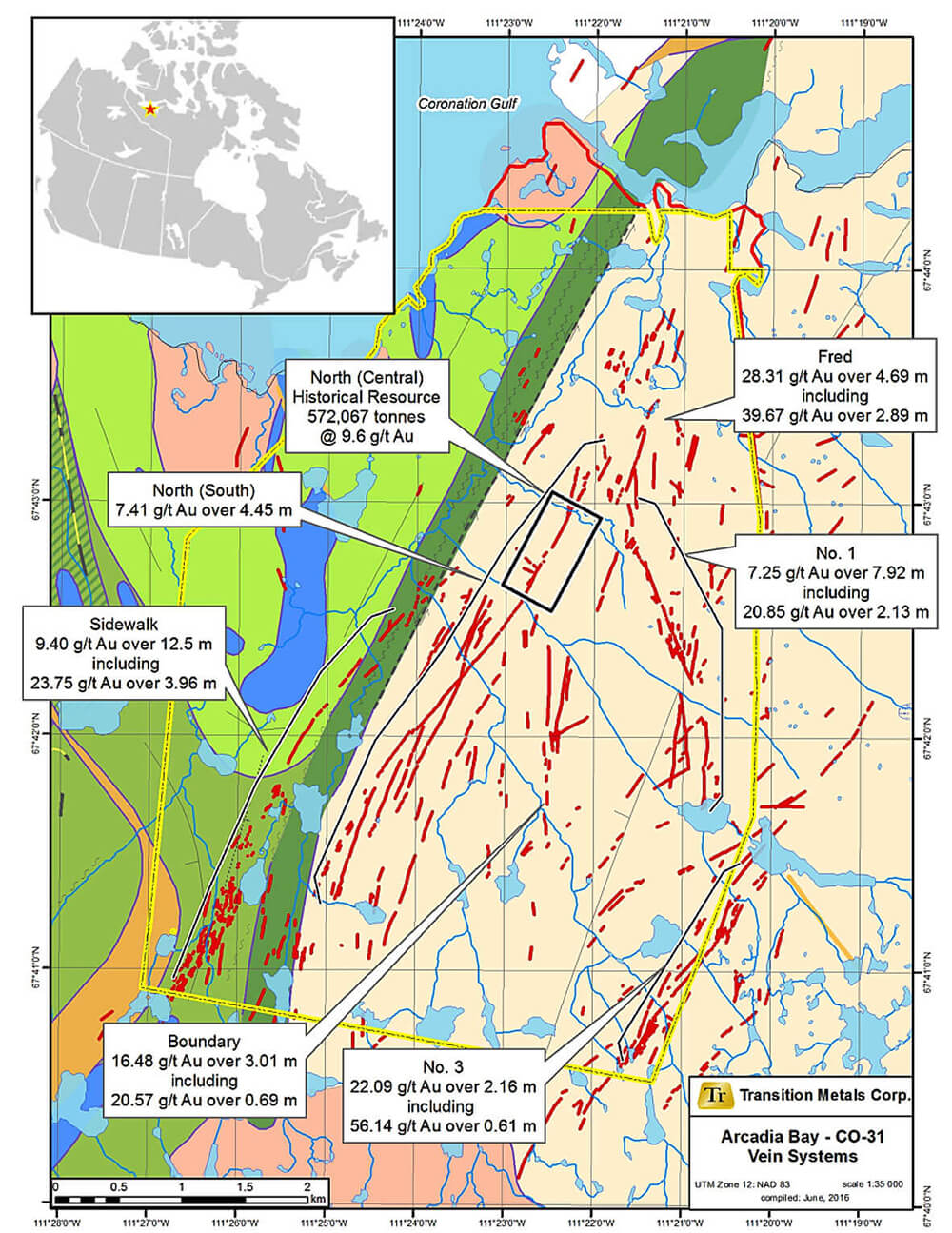 Figure 1: Geology and Vein Systems on the Arcadia Bay Property based on historical data