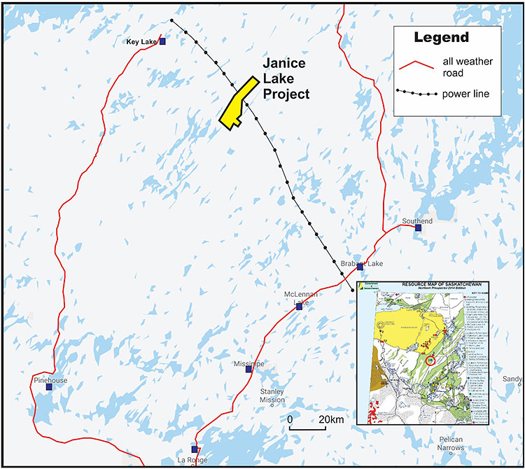 Figure 1: Janice Lake Copper Project, Location Map