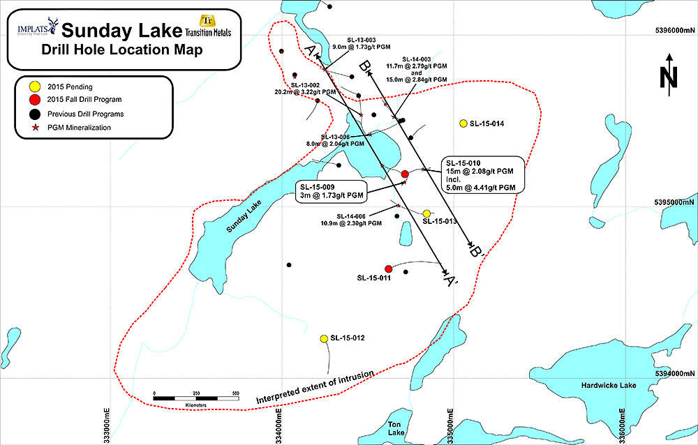 Figure 1: Plan Map of the Sunday Lake Property and Drill Hole Collar Locations
