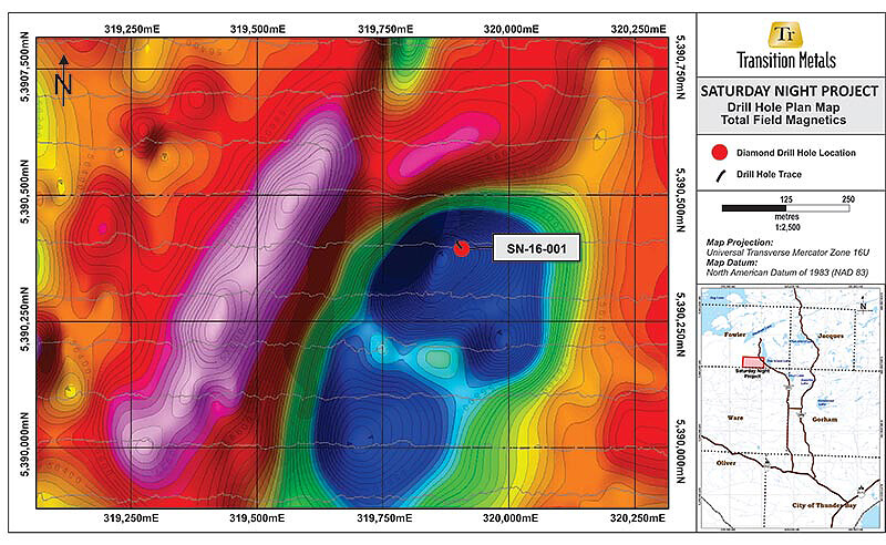 Figure 2: Plan Map Depicting Location of Drill Hole on Total Field Magnetics Image